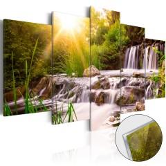 Artgeist Acrylglasbild - Forest Waterfall [Glass]