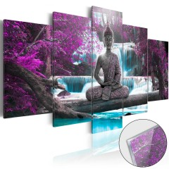 Artgeist Acrylglasbild - Waterfall and Buddha [Glass]