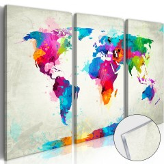 Artgeist Acrylglasbild - World Map: An Explosion of Colours [Glass]