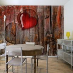 Artgeist Fototapete - Herz in Holz geschnitzt