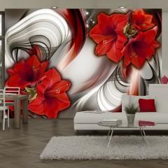 Artgeist Fototapete - Amaryllis - Ballad of the Red