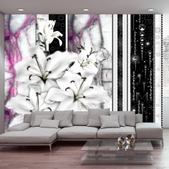 Artgeist Fototapete - Crying lilies on purple marble