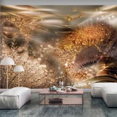Artgeist Fototapete - Dandelions' World (Gold)