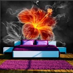 Artgeist Fototapete - Fiery flower inside the smoke