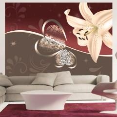 Artgeist Fototapete - Cremefarbene Lilie