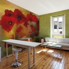 Artgeist Fototapete - Poppies in warm tone