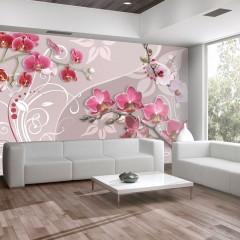 Artgeist Fototapete - Flight of pink orchids