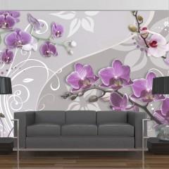 Artgeist Fototapete - Flight of purple orchids