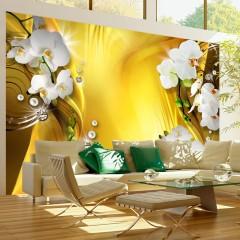 Artgeist Fototapete - Orchid in Gold