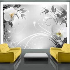 Artgeist Fototapete - Orchids on silver