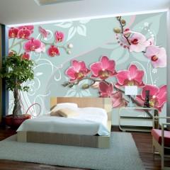 Artgeist Fototapete - Pink orchids - variation II