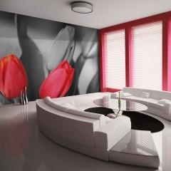 Artgeist Fototapete - Rote Tulpen am schwarz-weißen Hintergrund