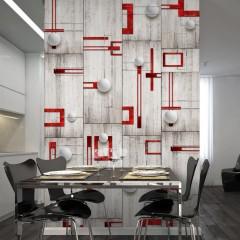 Artgeist Fototapete - Concrete, red frames and white knobs