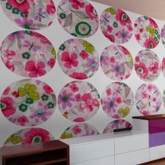 Artgeist Fototapete - Pink meadow - circle