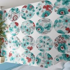 Artgeist Fototapete - Turquoise meadow - circle