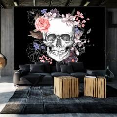 Artgeist Fototapete - Skull and Flowers