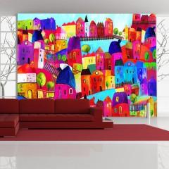 Artgeist Fototapete - Rainbow-hued town