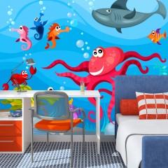 Artgeist Fototapete - Tintenfisch und Hai
