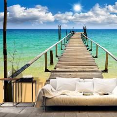 Artgeist Fototapete - Strand, Sonne, Brücke
