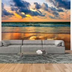 Artgeist Fototapete - Farbenfroher Sonnenuntergang am Meer