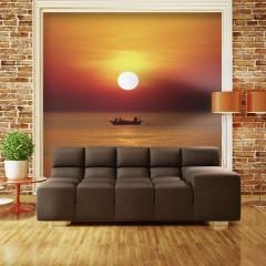 Artgeist Fototapete - Fischerboot bei Sonnenuntergang