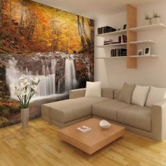 Artgeist Fototapete - Autumn landscape : waterfall in forest