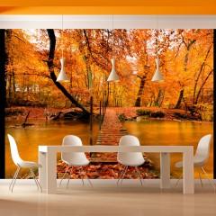 Artgeist Fototapete - Holzbrücke im Wald