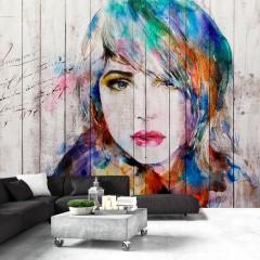 Artgeist Fototapete - Wooden Portrait