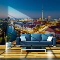 Artgeist Fototapete - Berlin view from Fischerinsel (night)
