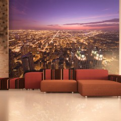 Artgeist Fototapete - Amerikanisches Chicago in der Nacht