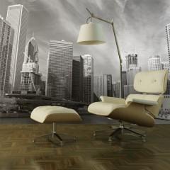 Artgeist Fototapete - Panorama von Chicago in Schwarz und Weiß