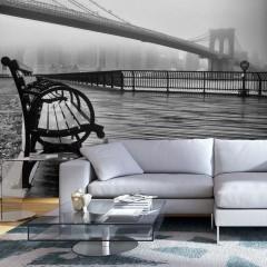 Artgeist Fototapete - A Foggy Day on the Brooklyn Bridge