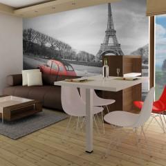 Artgeist Fototapete - Der Eiffelturm und ein kleiner, roter Wagen
