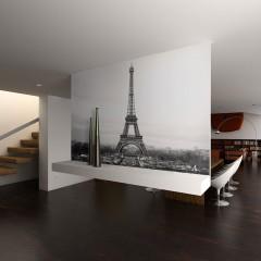 Artgeist Fototapete - Paris auf schwarz-weißer Fotografie
