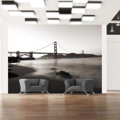 Artgeist Fototapete - San Francisco: Golden Gate in Schwarz und Weiß