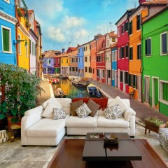 Artgeist Fototapete -  Colorful Canal in Burano