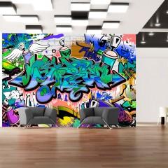 Artgeist Fototapete - Graffiti: blaues Thema