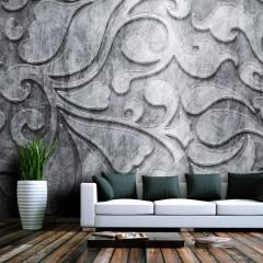 Artgeist Fototapete - Silberner Hintegrund mit Blumen