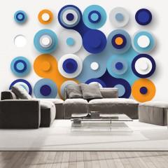 Artgeist Fototapete - Geometry Of Blue Wheels
