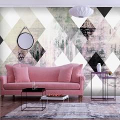 Artgeist Fototapete - Rhombic Chessboard (Pink)