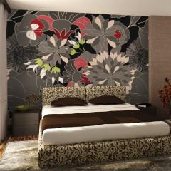 Artgeist Fototapete - florales Motiv - grau