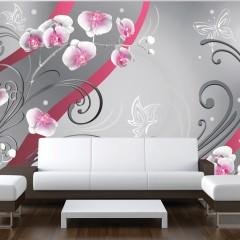 Artgeist Fototapete - Pink orchids - variation