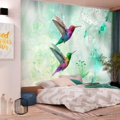 Artgeist Fototapete - Colourful Hummingbirds (Green)