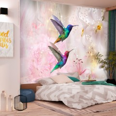 Artgeist Fototapete - Colourful Hummingbirds (Pink)