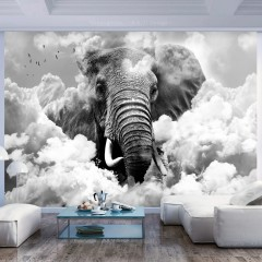 Artgeist Fototapete - Elephant in the Clouds (Black and White)