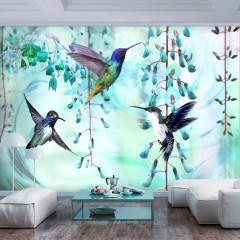 Artgeist Fototapete - Flying Hummingbirds (Green)