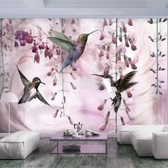 Artgeist Fototapete - Flying Hummingbirds (Pink)