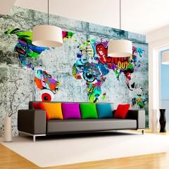 Artgeist Fototapete - Map - Graffiti
