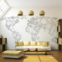 Artgeist Fototapete - Map of the World - white solids