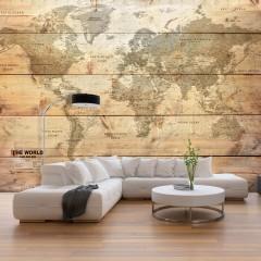Artgeist Fototapete - Map on Boards